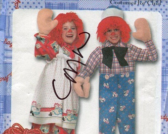 FREE US SHIP Sewing Pattern Simplicity 9375 Classic Raggedy Ann Andy Child's Toddler Costume Uncut Size 3 4 5 6 7 8 Out of Print New