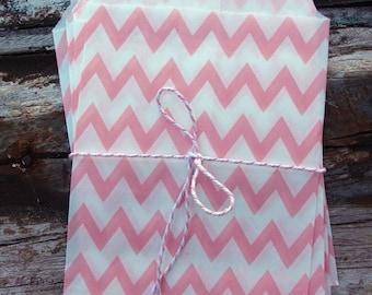 Pink Chevron Paper Treat Bags - (12 pcs) - TBCV-PK