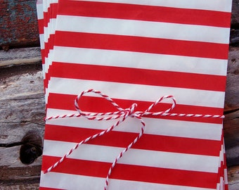 Red Stripe Paper Treat Bags - (12 pcs) - TBSTP-RD