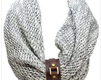Knit Infinity Scarf with Removable Leather Bracelet Strap