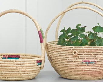 Set of 2 Vintage Sisal Neon Gathering Baskets
