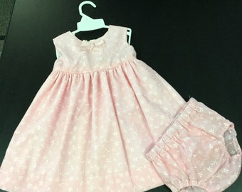 Infant  Eyelet Overlay Dress with Mactching Panties
