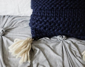 Knitted Pillow/Cushion Cover with Tassels | Navy Blue, White | Wool, Natural, Square, Removable | OOAK