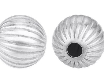 1 Pc 8 mm Sterling Silver Round Corrugated Bead (SS530101)