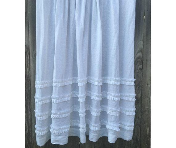 White Shower Curtain With Ruffles 100 By CustomLinensHandmade
