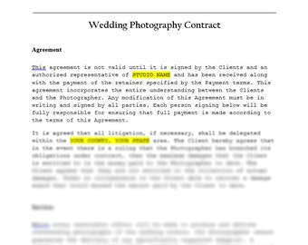 Photography contract | Etsy