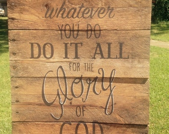 "reclaimed wood ""Glory"" sign"