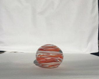 Handmade Orange and White Striped Paperweight (AW PW102)