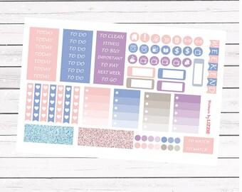 "SIMPLE Rose quartz & serenity (""milestonepages"" personal size insert) || Kiss-Cut Planner Stickers"