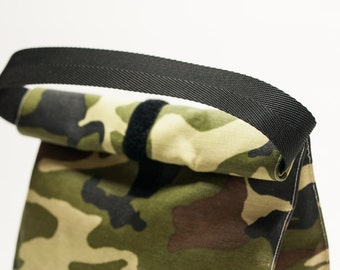 School lunch bag.  Lunch tote. Lunch bag. Reusable. Camouflage colours. Food bag.