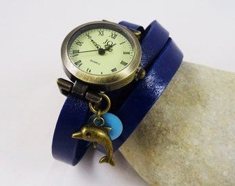 Girl teen watch with dolphin charm's and leather wrap bracelet, teen gift, girl gift