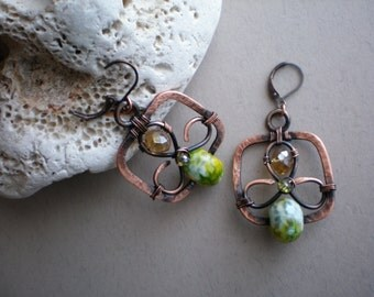 Wire wrapped copper earrings, Handmade copper wire earrings, Gemstone earrings,
