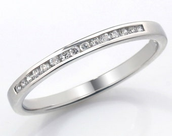 Channel Set Diamond Wedding Ring Fully UK Hallmarked (WD104)