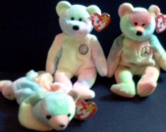 Ty Beanie Babies Collection Peace, Happy Birthday, and Sammy