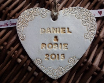 Personalised heart, Clay heart, Wedding date heart, Hanging heart, clay heart, Personalised heart, wishing tree,  wedding decoration,