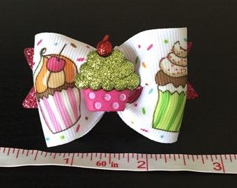 Cupcake dog bow