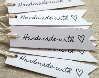 24 Handmade With Love Tags - Handmade With Love Labels - Kraft Lebels - Kraft Tags- Gift Wrapping - Gift Packaging - Shop Supplies