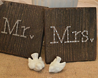 Wedding String Art Signs, Head Table Decor, Sweethearts Table, Mr. and Mrs. Signs