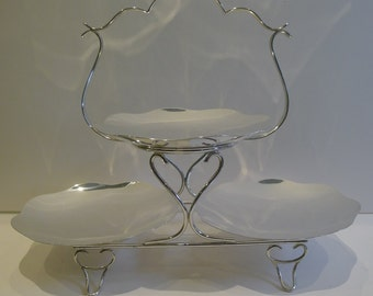 Elegant English Silver Plated Cake Stand by LEVESLEY BROTHERS of Sheffield c.1900