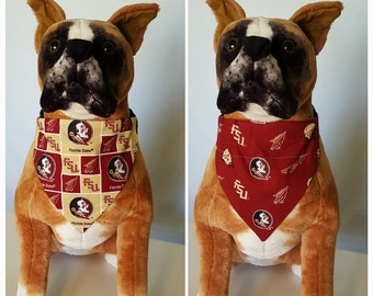 Reversible Bandana, Made With Florida State University Fabric, Seminoles, Scarf, Dog, Cat, Pet, Slip On Over The Collar, 2 in one
