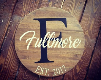 Monogram Sign, Wooden Monogram, Family Name Sign, Last Name Sign, Rustic Monogram, Rustic Family Name Sign, Round Monogram, Wedding Sign