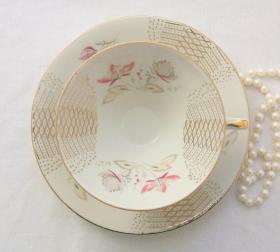 Vintage Bavaria Winterling Porcelain Teacup and Saucer, Germany, Numbered