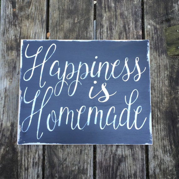 Happiness Is Homemade Handpainted Sign Handmade 12x12 Wall: Happiness Is Homemade Wooden Sign Shabby Chichome Decor