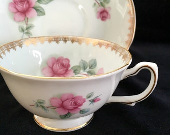 1950's Royal Grafton Tea Cup and Saucer, Blue Tea Cup Set ,Vintage Teacup, Pink Rose China, Birthday Gift