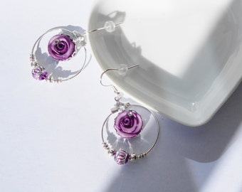 circle earrings, beads and roses shaped purple