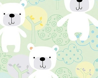 Breezy Baby - Baby Bear on Green background - by the Half Yard