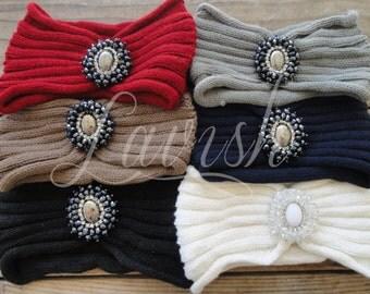 KNIT PENDANT HEADWRAP Crochet headband Knit Headband Crochet Headwrap