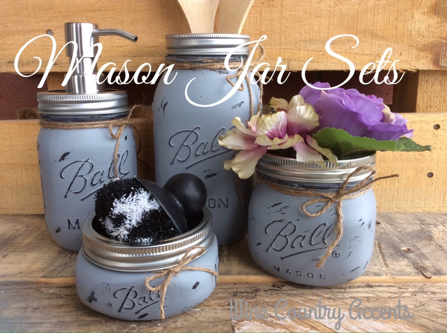 Painted mason jars mason jar kitchen set kitchin decor for Mason jar kitchen ideas