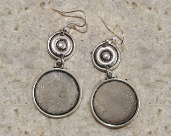 support for 20 mm round cabochon Silver earrings