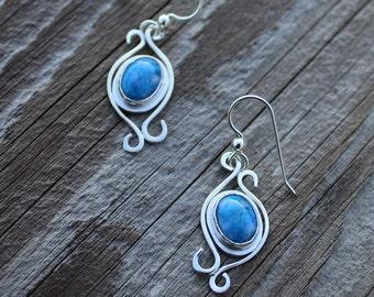 Blue Lapis Filigree Earrings Sterling Silver