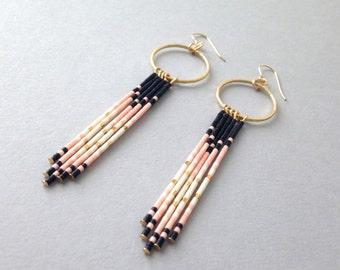 Long fringe earrings / Bohemian native american beaded fringe earrings / Pink
