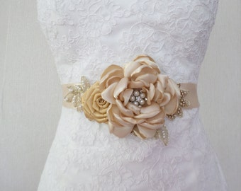 Wedding Sash, Champagne Sash, Bridal Sash, Bridal Belt, Wedding belt, Flower sash, Bridal Dress Belt, Bridal Flower Sash