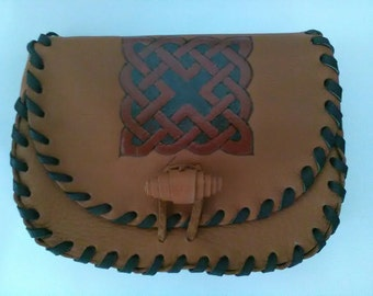 Medieval leather bag, Celtic bag,Celtic pouch,Waist bag, Hip bag, Pouch,100% Genuine Leather Handmade in brown color, Belt bag.