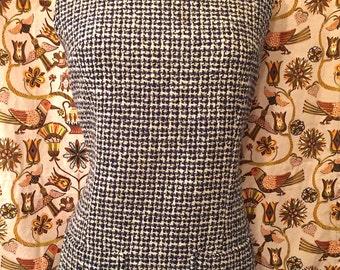 Vintage 1960s Mod Wool Tweed Herringbone Black and White Shift Dress Retro Twiggy