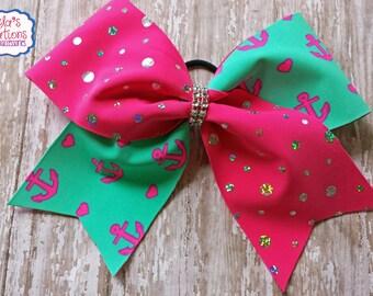 Anchor Hair Bows, Anchor Cheer Bows, Anchor Cheer Hair Bows,Pink and Blue Anchor Cheer Bows,Cheer Bows, Big Anchor Cheer Bows.
