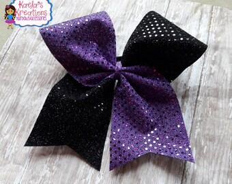 Purple and Black Cheer Bows, Cheer Bows,Black and Purple Cheer Bows,Cheer Hair Bows,Cheer.