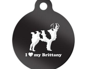 I Love My Brittany Engraved Round Key Chain Dog Tag spaniel - MRD-839