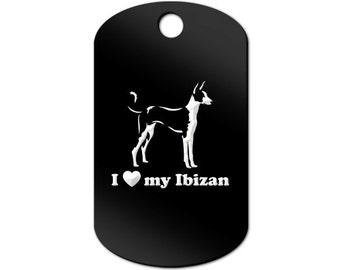 I Love My Ibizan Engraved GI Tag Key Chain Dog Tag hound - MDT-751