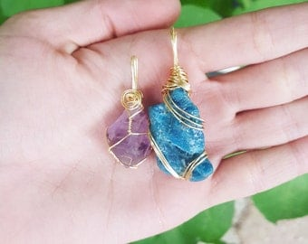 Amethyst and Blue Quartz Crystal Wire Wrapped Pendants