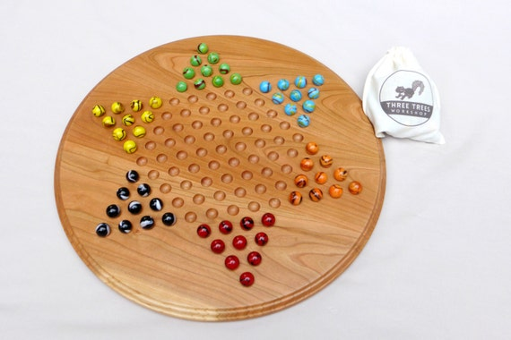 Chinese Checkers Game Board With Marbles By Threetreesworkshop