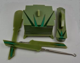 "Art Deco ""Acwalite"" Dresser Set (Early Plastic) — Women's Nail Care Set"