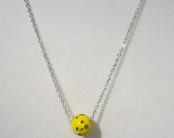 Sunny Yellow, Round Speckled Bead on Chain 18""
