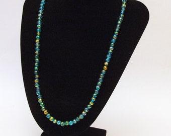 Gilded Aquamarine Glass Bead Necklace