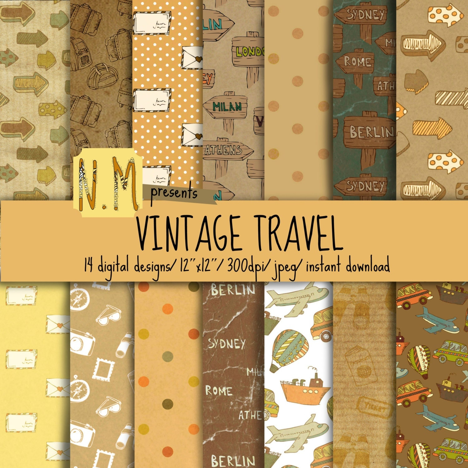 Vintage Travel Trailers: Vintage Travel Digital Paper Pack Travel Digital Pattern