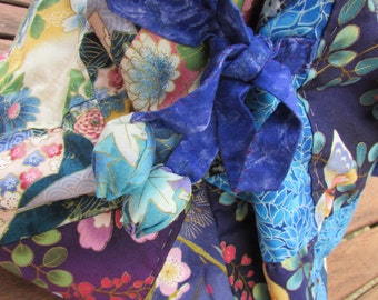 Handmade quilted bag, Japanese-style. Oriental, large quilted bag, limited edition, blue mix
