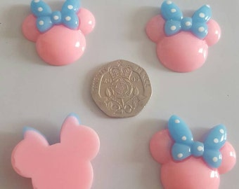 4 peices mini mouse heads with blue bow. Flat back resin cabochon hair bow scrap book